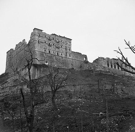 Monte Cassino in ruins The ruined monastery at Cassino, Italy, 19 May 1944. NA15141.jpg