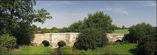 The mediæval bridge near Thornborough, Buckinghamshire, in use from <em>c</em>.1400 until 1974.