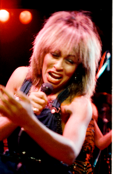 1=Tina Turner in 1983/84 at St David's Hall, Cardiff