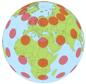 Map–territory relation - Tissot's indicatrices viewed on a sphere: all are identical circles