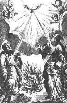 This 1711 illustration for the Index Librorum Prohibitorum depicts the Holy Ghost supplying the book burning fire. Titelkupfer Index librorum prohibitorum.jpg