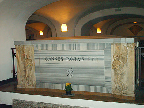 Tomb of John Paul I in the Vatican Grottoes Tomb of pope Johannes Paulus I.jpg