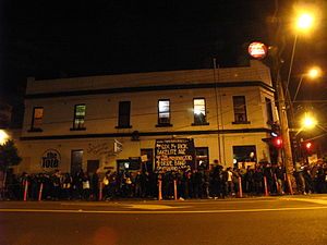 The Tote Hotel - People gathering and queuing on Wellington Street, closing night