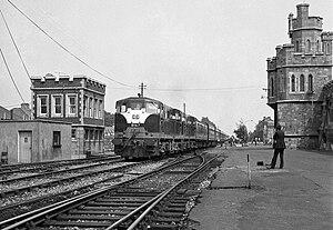 Inchicore railway works - Train passing Inchicore railway works