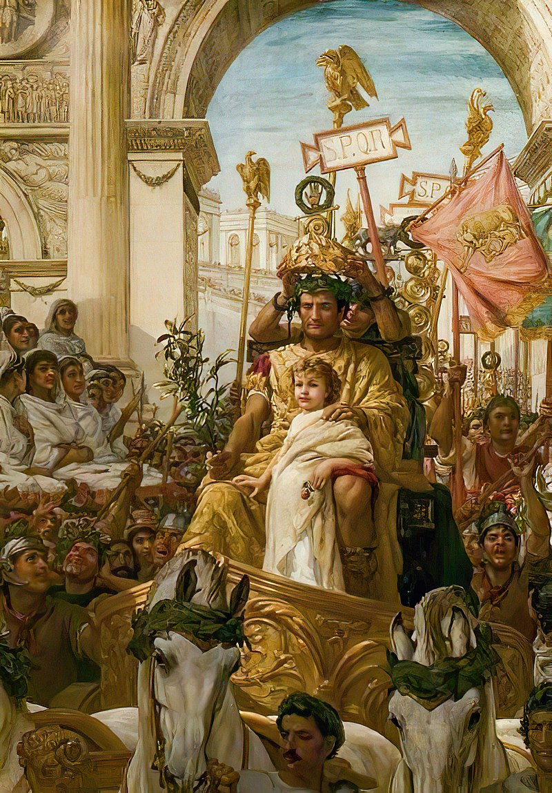 Triumph with child in the triumphator's chariot Francis William Warwick Topham, 1838.jpg