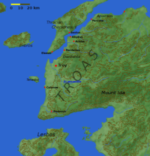 Mount Ida (Turkey) - Location of Mount Ida on a map of the ancient Troad