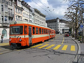 St. Gallen - Trogen railway running tramway-like on St. Gallen roads