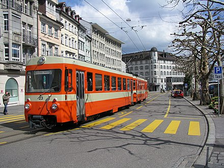 Trogen railway running tramway-like on St. Gallen roads Trogenerbahn.jpg
