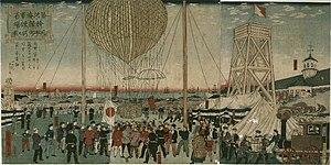 Tsukiji - Tsukiji Naval Academy hot air balloon demonstration (1877) Hiroshige III
