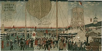 Tsukiji - Tsukiji Naval Academy hot air balloon demonstration (1877) Hiroshige III