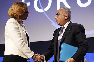 Foreign relations of Israel - Tzipi Livni shaking hands with Salam Fayyad, 2008
