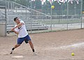 U.S. Coast Guard Lt. Niles Pierson, a construction project manager with Coast Guard Civil Engineering Unit Cleveland, swings at a pitch during his unit's softball practice July 31, 2013, at Kennedy Field 130731-G-KB946-056.jpg