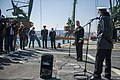 U.S. Navy Cmdr. Andrew Biehn, second from right, the commanding officer of the guided missile destroyer USS Truxtun (DDG 103) holds a press conference following a multilateral exercise with Romania and Bulgaria 140314-N-EI510-046.jpg