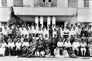 U. R. Ananthamurthy - U. R. Ananthamurthy at Manasa Gangotri, University of Mysore in the early 1970s before embarking to England. (seated on chairs: 9th from left)