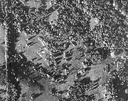 U-2 reconnaissance photograph of Soviet nuclear missiles in Cuba. Shown are the transports and tents for fueling and maintenance.