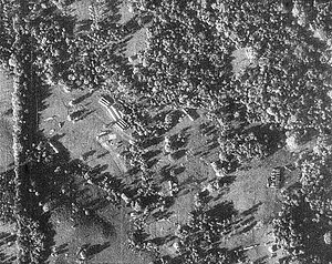 Cuban Missile Crisis - A U-2 reconnaissance photograph of Cuba, showing Soviet nuclear missiles, their transports and tents for fueling and maintenance.