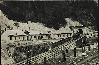 Karawanks Tunnel (railway) - The northern entrance to the tunnel during the Austro-Slovene conflict in Carinthia, 1918 or 1919.