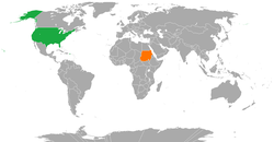 Map indicating locations of USA and Sudan