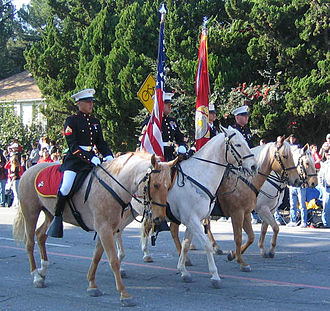 Flag of the United States Marine Corps - The only horse-mounted color guard in the Corps at the 2007 Tournament of Roses Parade