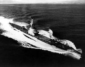 Chivo (SS-341), underway, c. 1945-50, off the Hawaiian coast.