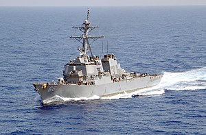 USS The Sullivans in the Mediterranean Sea.