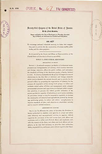 National Industrial Recovery Act of 1933 - Front page of the National Industrial Recovery Act, as signed by President Franklin D. Roosevelt on June 16, 1933.