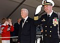 US Navy 050219-N-7441H-001 Commanding Officer, USS Jimmy Carter (SSN 23), Capt. Robert D. Kelso, escorts former President Jimmy Carter as they pass attendees during the commissioning ceremony for the attack submarine USS Jimmy.jpg