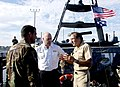 US Navy 061023-N-6597H-097 Commander, Naval Special Warfare Command Rear Adm. Joseph Kernan, talks with Swedish Navy Chief of Staff, Rear Adm. Anders Grenstad, aboard, a Mark V, special operations boat.jpg