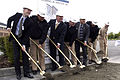 US Navy 070808-N-3390M-001 Ceremony participants onboard Naval Station Everett participate in the P-155 bachelor enlisted quarters Homeport Ashore Groundbreaking Ceremony.jpg
