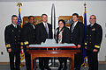 US Navy 080214-N-0923G-003 Deputy Assistant Secretary of the Navy for Ships Allison Stiller, center right,stands with the principals of a dal to build the DDG 1000 Zumwalt Class destroyer.jpg