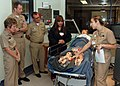 US Navy 081212-N-5086M-021 Lt. Cmdr. Kristina Moroccodemonstrates the Mobile Obstetric Education System (MOES) for emergency situations.jpg