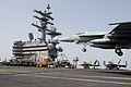 US Navy 090706-N-3610L-230 An F-A-18E Super Hornet assigned to the Eagles of Strike Fighter Squadron (VFA) 115 lands aboard the aircraft carrier USS Ronald Reagan (CVN 76).jpg