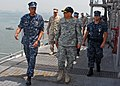 US Navy 090907-N-1512O-012 Capt. Sam Howard, commanding officer of the multi-purpose amphibious assault ship USS Bataan (LHD 5), guides Maj. Gen. Dean Sienko, commander of 3rd Medical Deployed Support Command, on a tour of the.jpg