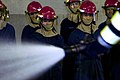 US Navy 100128-N-1251W-001 Sailors assigned to the aircraft carrier USS George Washington (CVN 73) watch a proper fire hose handling demonstration during a shipboard fire fighting class at the Center for Naval Engineering (CNE).jpg