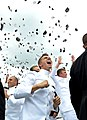 US Navy 100528-N-8273J-356 Newly commissioned officers from the U.S. Naval Academy Class of 2010 celebrate the conclusion of their graduation and commissioning ceremony with the traditional hat toss at Navy-Marine Corps Memoria.jpg