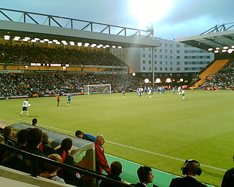 Carrow Road - Ashley Young places the ball for a free kick for England under-21s in 2007. The Barclay and The Holiday Inn hotel can be seen in the background.
