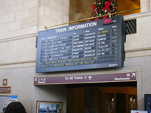 Union Station (New Haven) - The old split-flap display train departure list.