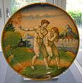Urbino maiolica, piatto con adamo ed eva da michelangelo.JPG
