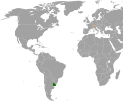 Map indicating locations of Uruguay and Switzerland
