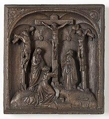 Hoogreliëf van hout, Christus aan het kruis