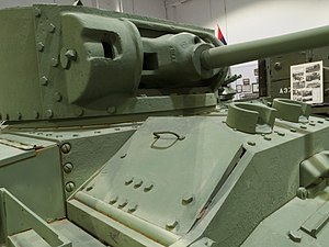 Valentine tank - Driver's position, both periscopes and hatch visible. Photo of Mark VI tank at CFB Borden