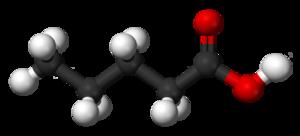 Valeric acid - Image: Valeric acid 3D balls