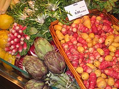 Vegetables in a grocery store, Paris