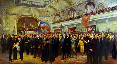 Great Assembly of Serbs, Bunjevci, and other Slavs proclaimed the unification of Vojvodina region with the Kingdom of Serbia in Novi Sad in 1918 Velika-narodna-skupstina-1918.jpg