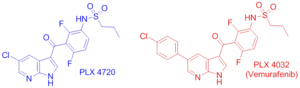 BRAF (gene) - Figure 4: Structures of Vemurafenib (right) and its precursor, PLX 4720 (left), two inhibitors of the active conformation of the B-Raf kinase domain