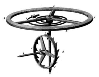 Verge escapement component of a weight-driven clock
