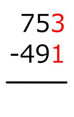 Subtraction - Image: Vertical Subtraction Method B Step 1