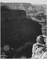 "View of darkly shadowed canyon at left and center, from the ""South Rim, 1941, Grand Canyon National Park,"" Arizona. (ver - NARA - 519891.tif"