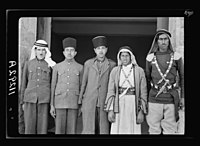 Visit to Beersheba Agricultural Station (Experimental) by Brig. Gen. Allen & staff & talks to Bedouin sheiks of district by station superintendent. Mohammed (Mr. Bell's servant), a camelman LOC matpc.20546.jpg