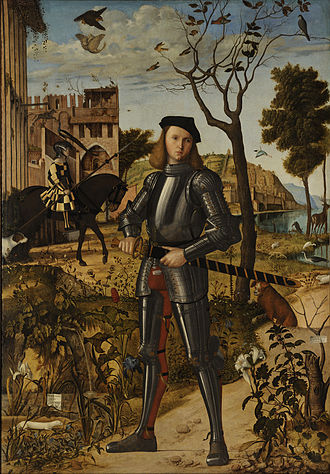 Methoni, Messenia - Vittore Carpaccio. Young Knight in a Landscape. The castle on the left has been identified with Methoni, and the knight with Marco Gabriel, its rector during the Ottoman siege of 1500.